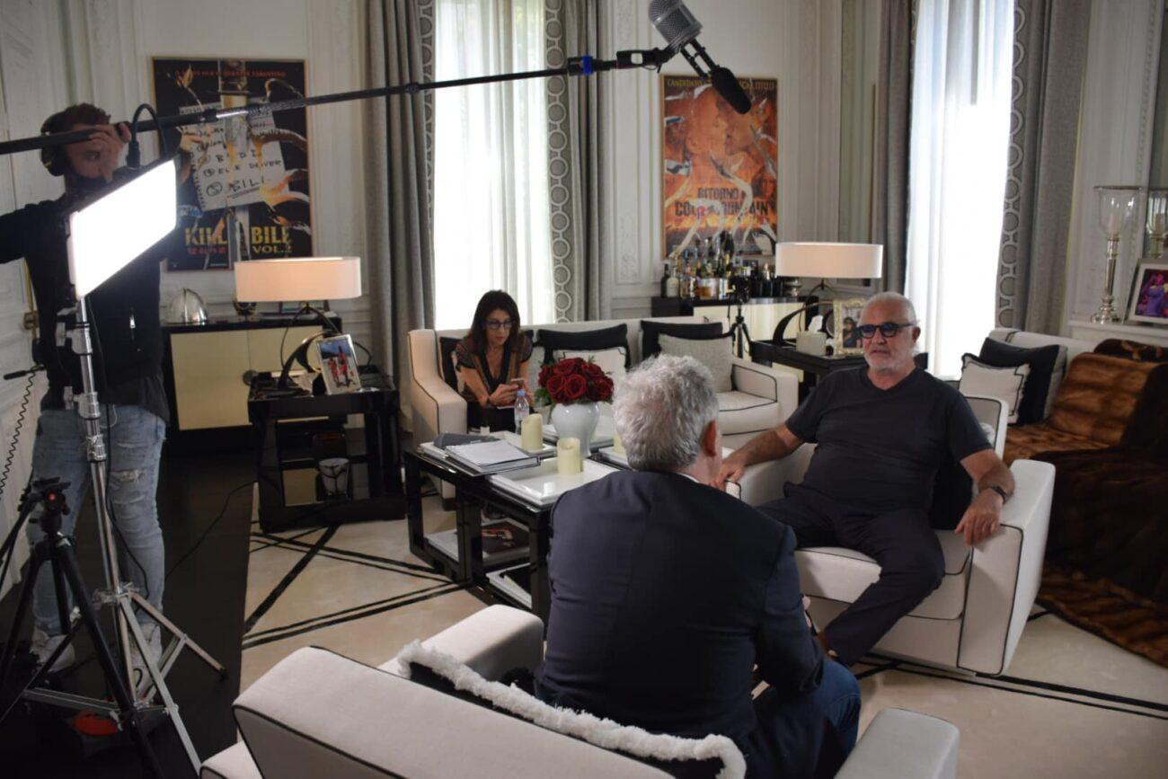 Sul set con Flavio Briatore